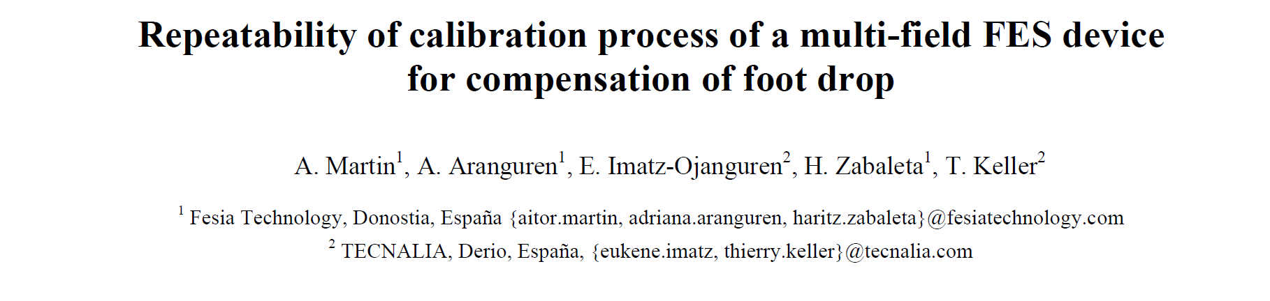 Repeatability of calibration process of a multi-field FES device for compensation of foot drop